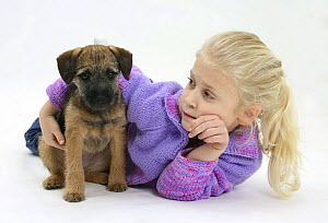 Girl playing with Border Terrier bitch puppy, Kes. Model released - Mark Taylor