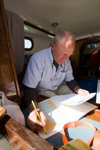 Using paper charts to work out a route on board a Contessa 26 on the way to France from Poole, South of England, August 2009. - Richard Langdon