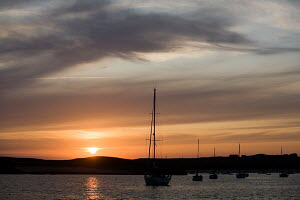 Sunset over anchorage, ile-d'Houat, Brittany, France, August 2009. - Richard Langdon