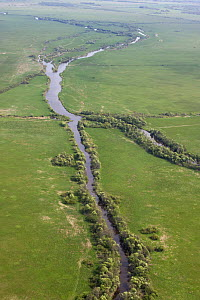 Aerial view of Kasari river, Matsalu National Park, Estonia, May 2009  -  Wild Wonders of Europe / Rautiainen