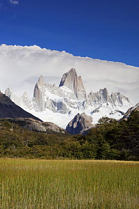 Cerro Fitz Roy with thick clouds behind, Los Glaciares National Park, Argentina February 2009  -  Michael Hutchinson