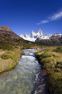 Cerro Fitz Roy and river of glacial meltwater, Los Glaciares National Park, Argentina February 2009  -  Michael Hutchinson