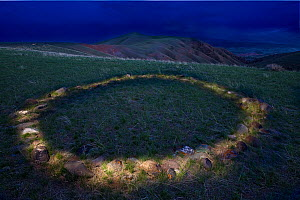 Native American Teepee rings on Table Mountain near Dubois, Shoshone reserve, Wyoming, USA, May 2009 - Jeff Vanuga