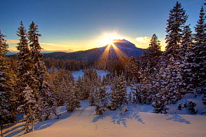 Sunset over Brooks Mountain in the Shoshone National Forest, Wyoming, USA, December 2008 - Jeff Vanuga