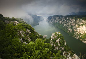 Low clouds over the River Danube flowing through the Iron Gate Gorge, Djerdap National Park, Serbia, June 2009 WWE BOOK PLATE. - Wild Wonders of Europe / Smit