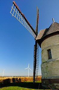"""21st Century wind turbines beside restored 17th Century Windmill """"Le moulin Guidon"""", Eaucourt-sur-Somme, France, March 2009  -  Nick Upton"""