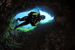 Cave diving, Comino Island, Malta, May 2009  -  Wild Wonders of Europe / Zankl