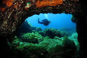Cave diving, Comino Island, Malta, Mediteranean, May 2009  -  Wild Wonders of Europe / Zankl