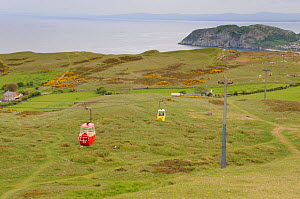 View of the Great Orme limestone headland with cable car in the foreground, Llandudno, Conwy, North Wales, UK, May - Gary K. Smith