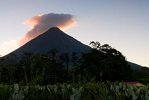 Arenal Volcano at sunset, clouds mixing with smoke, Costa Rica, February 2009 - Martin Gabriel