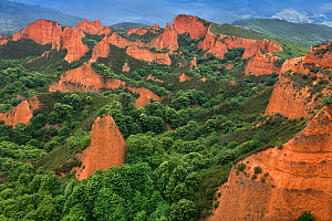 Las Medulas, Cordillera Cantabrica, Castilla y Leon, Spain. The landscape, now a natural reserve, is man-made: the rock formations are the result of iron mining since Roman times and the wood is culti... - Angelo Gandolfi
