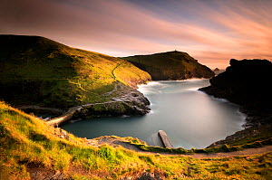 Boscastle harbour and north Cornish coastline, Cornwall, UK. May 2009.  -  Ross Hoddinott