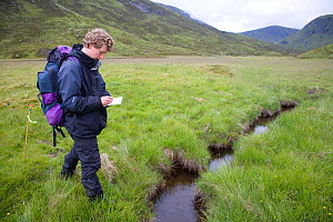 Researcher takes field notes on Upland water vole (Arvicola terrestris) as part of Cairngorms Water Vole Conservation Project, Scotland, UK, July 2008  -  Peter Cairns / naturepl.com