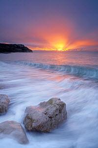 Ringstead Bay at sunrise, Jurassic Coast World Heritage Site, Dorset, England, November 2006 - Guy Edwardes