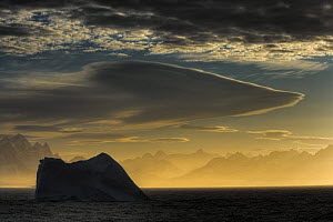 Silhouette of iceberg with lenticular clouds in morning mist, South Georgia (non-ex)  -  Andy Rouse