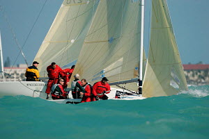 Melges 24 sportsboats racing in the turquoise waters during Key West Race Week 2006, Miami, Florida. - Richard Langdon