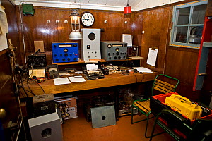 Old radio room conserved at Port Lockroy British base, Antarctica,  -  Andy Rouse