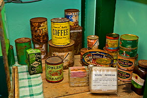 Old tins of food in food locker preserved at  Port Lockroy British base, Antarctica  -  Andy Rouse