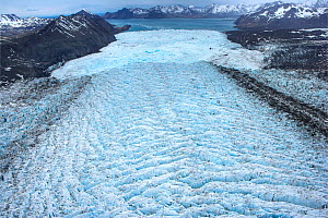 Aerial view of ice pressure ridges at edge of Neumayer Glacier, South Georgia, Antarctica, December 2006 - Andy Rouse