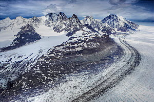 Aerial view of the top of Neumayer Glacier showing moraine, South Georgia, Antarctica, December 2006 - Andy Rouse