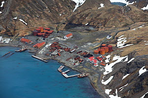 Aerial view of Grytviken, an abandoned whaling station, South Georgia, Antarctica, December 2006  -  Andy Rouse