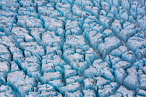 Aerial view of ice ridges near the front of Peters Glacier, South Georgia, Antarctica, December 2006 - Andy Rouse