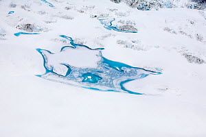 Aerial view of meltwater patterns on Peters Glacier, South Georgia, Antarctica, December 2006  -  Andy Rouse