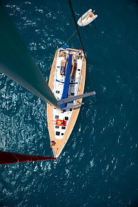 View from the masthead of a Sunsail Oceanis 423 in the BVI, March 2006. Model and property released.  -  Billy Black