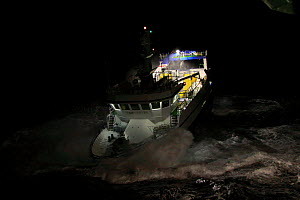 "Fishing vessel ""Harvester"" on a stormy night, North Sea, October 2009. Property Released. - Philip Stephen"