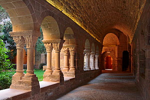 Stone pillars and sculpted capitals at cloisters of the St. Benet monastery, Barcelona, Catalonia, Spain.  -  Juan Manuel Borrero