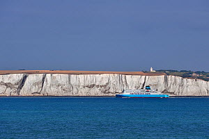 Norfolkline ferry passing the white cliffs of Dover, Kent, UK, July 2009  -  Philippe Clement