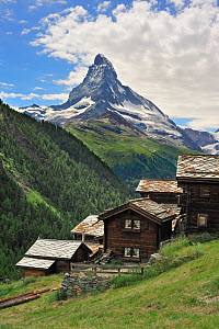 Traditional wooden chalets in Findeln with the Matterhorn behind, Valais, Switzerland, July 2009 - Philippe Clement