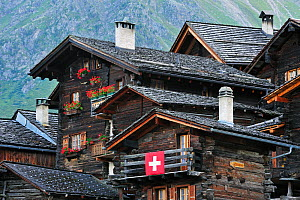 Traditional wooden houses / chalets in the Alpine village Grimentz, Valais, Switzerland, July 2009 - Philippe Clement