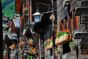 Traditional wooden houses / chalets decorated with window boxes full of  geraniums in the Alpine village Grimentz, Valais, Switzerland, July 2009 - Philippe Clement