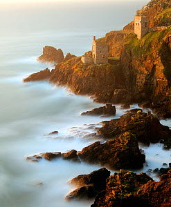 Ruined tin mineshafts at Botallack Head, near St Just, Cornwall, UK. September 2009. - Ross Hoddinott