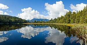 Lake Matheson, with reflection in water, Fox Glacier, New Zealand, April 2009 - Andrew Walmsley