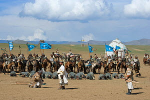 Re-enactement of the victory of the mounted armies of Genghis Khan (emperor of the Mongol Empire) over enemies (facing the ground) during the Genghis Khan Show, in Ulaanbaatar, Mongolia. The horses ar...  -  Kristel Richard