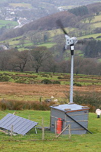 Wind turbine and solar panel for renewable energy electricity generation, Carmathenshire, Wales, UK, December 2007 - Dave Bevan