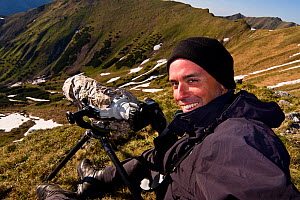 Photographer, Bruno D'Amicis, at work in a mountain valley, Western Tatras, Carpathian Mountains, Slovakia, June 2009  -  Wild Wonders of Europe / D'Amicis