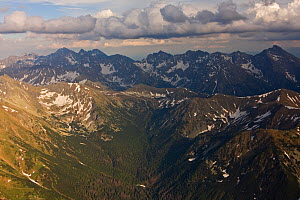 Aerial view of the end of Ticha valley and the High Tatras with Mount Krivan (2,495m) on the right and Mount Gerlach (2,655m) in the background, Western Tatras, Carpathian Mountains, Slovakia, June 20... - Wild Wonders of Europe / D'Amicis