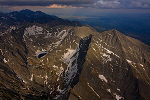 Aerial view of the northern slope of Mount Kriv�n (2,495m) High Tatras, Carpathian Mountains, Slovakia, June 2009  -  Wild Wonders of Europe / D'Amicis