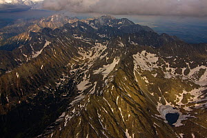 Aerial view of the heart of the High Tatras, culminating with Mount Gerlach (2,665m) the highest peak on the right, High Tatras, Carpathian Mountains, Slovakia, June 2009 - Wild Wonders of Europe / D'Amicis
