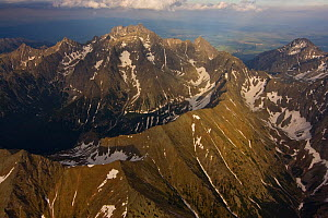 Aerial view of the massif of Mount Gerlach (2,665m) the highest peak of the Tatras, High Tatras, Carpathian Mountains, Slovakia, June 2009  -  Wild Wonders of Europe / D'Amicis