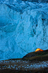 Tent at night next to Russell Glacier, Greenland, August 2009  -  Wild Wonders of Europe / Jensen