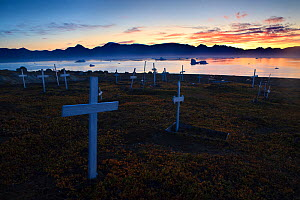 Graveyard at sunrise, Qullissat, Greenland, August 2009  -  Wild Wonders of Europe / Jensen