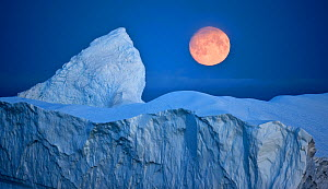 Full moon over an iceberg at dusk, Saqqaq, Disko Bay, Greenland, September 2009  -  Wild Wonders of Europe / Jensen