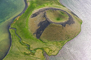 Aerial view of Skutustadagigar pseudocrater, Lake Myvatn, Northern Iceland, June 2009  -  Wild Wonders of Europe / Carwardine