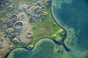 Aerial view of pseudocraters, Lake Myvatn, Northern Iceland, July 2009.  -  Wild Wonders of Europe / Carward