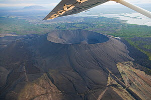 Aerial view of Hverfjall Crater near Lake Myvatn, Northern Iceland, July 2009  -  Wild Wonders of Europe / Carwardine