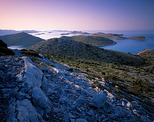 View from Levrnaka Island to the south, at sunrise, Kornati National Park, Croatia, May 2009  -  Wild Wonders of Europe / Popp-Hackner